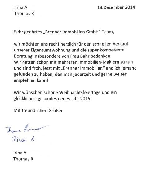 Brief Für Zusammenarbeit : Brenner immobilien gmbh kundenstimmen referenzen