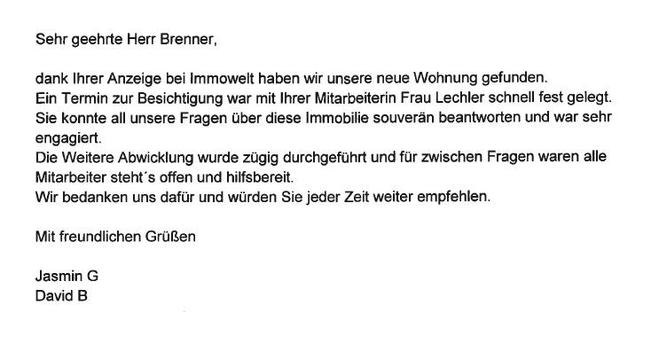 Nette Briefe Schreiben : Brenner immobilien gmbh kundenstimmen referenzen