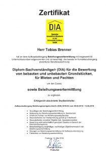 Zertifikat Beleihungswertermittler DIA