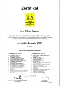 Zertifikat Immobilienbewerter DIA